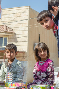 Children in a Yezidi camp.