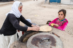 A traditional bread oven built by Yezidis in a Sharya camp.