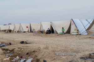 An informal camp, which has no running water or electricity.