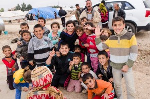 Yezidi children in an internally displaced person (IDP) camp in Sharya, Iraq.