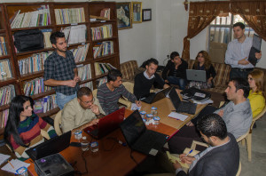 Miki Takacs (far right, standing) teaching at the Lalish Center, Sharya Branch.
